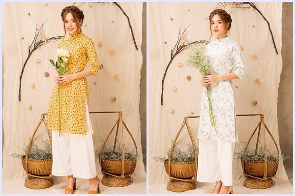 áo dài hoa nhí dáng suông và quần dài
